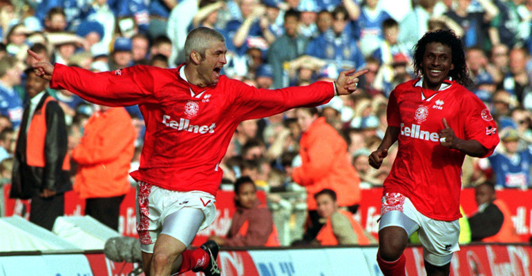 Fabrizio Ravanelli celebrates Middlebrough's goal during the Coca Cola Cup Final against Leicester at Wembley today (Sun). The match finished in a 1-1 draw. Pictue by Martyn Hayhow