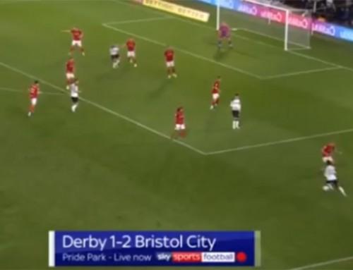 Porażka Derby z Bristol. Fenomenalne trafienie Marriotta na otarcie łez